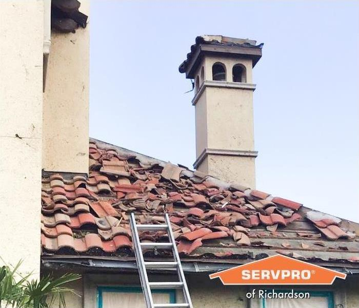 Roof Damage Before Restoration North Dallas