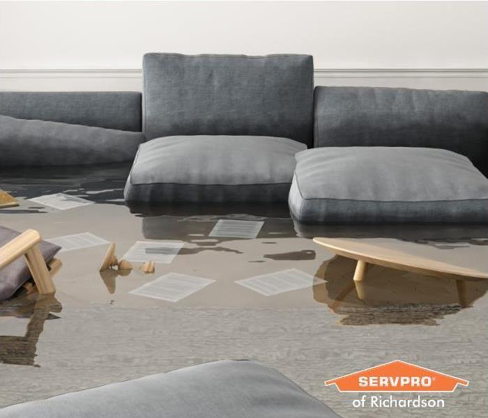 living room flooded after storm damage in richardson