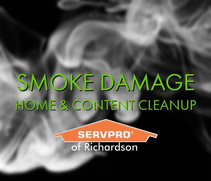 smoke against a black background with text smoke damage cleanup from Servpro of Richardson