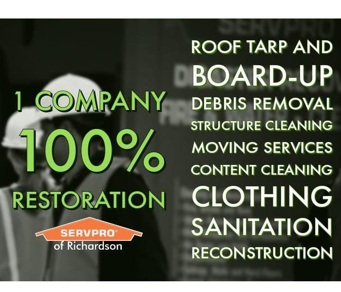 SERVPRO of Richardson full service restoration text with construction background in grayscale
